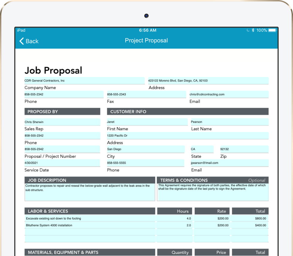 A digital project proposal shown on a tablet.